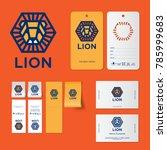 lion logo. kids wear emblems.... | Shutterstock .eps vector #785999683