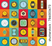 time and clock icons set. flat... | Shutterstock . vector #786003673