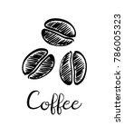 coffee beans. ink sketch... | Shutterstock .eps vector #786005323