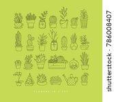 icon flat set plants in pots...   Shutterstock .eps vector #786008407