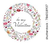 greeting card for st. valentine'... | Shutterstock .eps vector #786018937