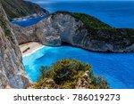 navagio  shipwreck  beach in... | Shutterstock . vector #786019273