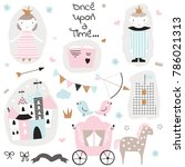 cute princess doodle collection.... | Shutterstock .eps vector #786021313