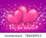 two realistic 3d heart romantic ... | Shutterstock .eps vector #786030913