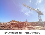 saw mill with crane and stack... | Shutterstock . vector #786049597
