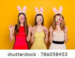 happy easter  three pretty ... | Shutterstock . vector #786058453