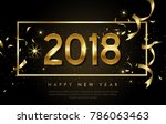 vector 2018 happy new year... | Shutterstock .eps vector #786063463