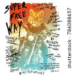 typography with tiger riding a... | Shutterstock . vector #786088657