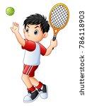 cute little boy playing tennis... | Shutterstock .eps vector #786118903