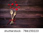 dinner with table setting in... | Shutterstock . vector #786150223