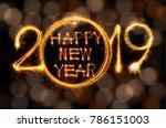happy new year 2019 text... | Shutterstock . vector #786151003