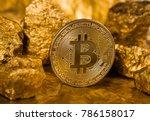 gold coin bitcoin. a mound of... | Shutterstock . vector #786158017