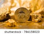 gold coin bitcoin. a mound of... | Shutterstock . vector #786158023