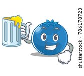 with juice blueberry character... | Shutterstock .eps vector #786178723