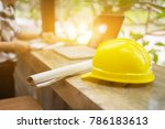 yellow hard safety helmet hat... | Shutterstock . vector #786183613