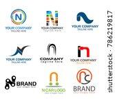 letter n logo set. set of... | Shutterstock .eps vector #786219817