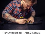 leather maker cut leather with... | Shutterstock . vector #786242533