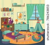 playing room for boy with...   Shutterstock .eps vector #786243853