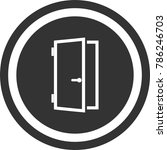 door icon   dark circle sign...
