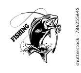 fishing logo. bass fish with... | Shutterstock . vector #786255643