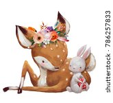 cute little hare with little... | Shutterstock . vector #786257833