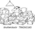 business man with lots of paper | Shutterstock .eps vector #786261163