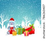 christmas bunny with present...   Shutterstock . vector #786263407