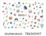 funny doodle objects vector... | Shutterstock .eps vector #786265447