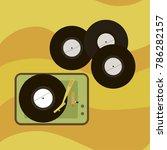 record player of vinyl records... | Shutterstock .eps vector #786282157