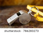 vintage silver whistle on rusty ... | Shutterstock . vector #786283273