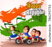 happy republic day of india... | Shutterstock .eps vector #786295753