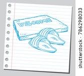 welcome door mat and slippers | Shutterstock .eps vector #786298033