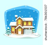 vector cartoon winter large big ... | Shutterstock .eps vector #786301537