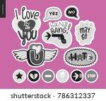 set of contemporary girlie love ... | Shutterstock .eps vector #786312337