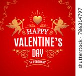 valentines day card with... | Shutterstock .eps vector #786314797