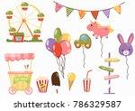 amusement park set  festival... | Shutterstock .eps vector #786329587