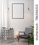 mockup poster in the interior ... | Shutterstock . vector #786336313