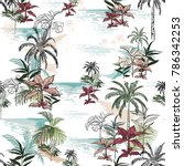 beautiful seamless island... | Shutterstock .eps vector #786342253