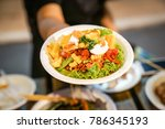 somtum  spicy papaya salad with ... | Shutterstock . vector #786345193