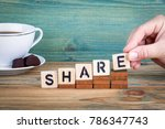 Small photo of share. Wooden letters on the office desk, informative and communication background