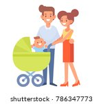 family together on the walk.... | Shutterstock .eps vector #786347773