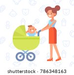 happy mother on the walk with ... | Shutterstock .eps vector #786348163