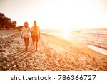 two young lovers on beach and... | Shutterstock . vector #786366727