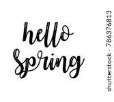 hello spring calligraphy with... | Shutterstock . vector #786376813