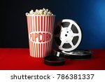 paper cup with tasty popcorn... | Shutterstock . vector #786381337