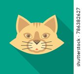 cat face icon with long shadow. ...   Shutterstock .eps vector #786382627