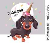 dachshund dog in a ice cream... | Shutterstock .eps vector #786384493