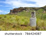 Small photo of Old distance meter in field with mountains