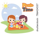 picnic time illustration vector | Shutterstock .eps vector #786424537