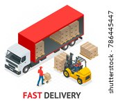 isometric delivery and shipment ... | Shutterstock .eps vector #786445447